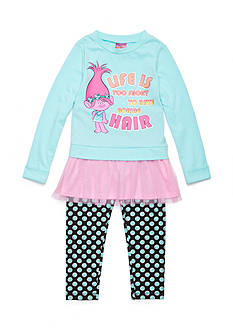 DreamWorks Trolls Life Is Too Short Flounce Top and Pant Set Girls 4-6x