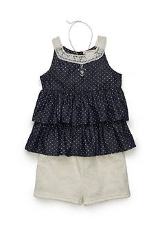 Self Esteem Chambray Tiered Top and Crochet Short Girls 4-6x