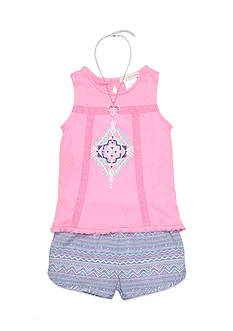 Self Esteem Split Back Top and Printed Short 2-Piece Set Girls 4-6x