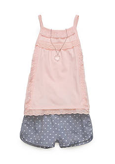 Self Esteem Solid Tank Top and Chambray Short 2-Piece Set Girls 4-6x