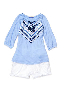 Self Esteem Peasant Top and Crochet Short 2-Piece Set Girls 4-6x