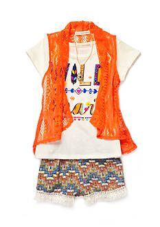 Self Esteem 'Wild at Heart' Top with Cozy and Printed Shorts 2-Piece Set Girls 4-6x