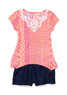 Self Esteem Daisy Top and Lace Short 2-Piece Set Girls 4-6x