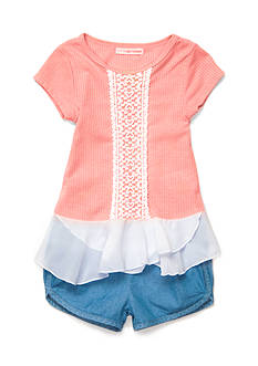 Self Esteem Ribbed Knit Top and Chambray Short Girls 4-6x