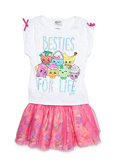 Shopkins™ 'Besties for Life' Graphic Top and Skirt 2-Piece Set Girls 4-6x