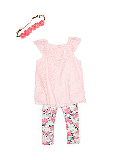 Self Esteem Lace Off the Shoulder Tunic and Floral Legging 2-Piece Set Girls 4-6x