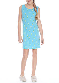 J. Khaki Pineapple Print Knit Swing Dress Girls 7-16