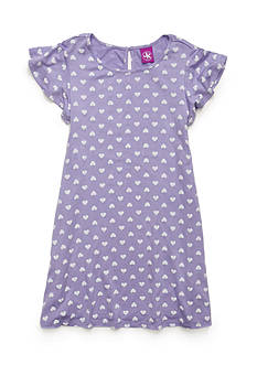 J. Khaki Heart Print Swing Dress Girls 4-6x