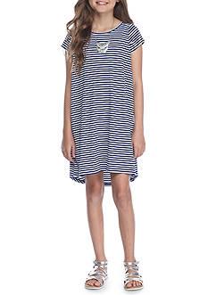 J. Khaki Striped Rib Knit Dress Girls 7-16