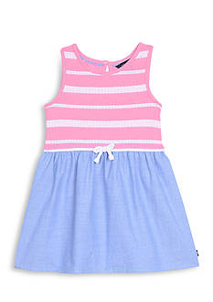 Nautica Stripe to Chambray Dress Girls 4-6x