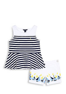 Nautica Peplum Top and Pleated Shorts Set Girls 4-6x