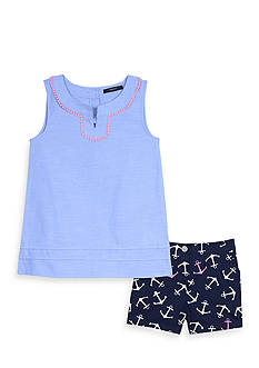 Nautica Chambray Top and Anchor Short 2-Piece Set Girls 4-6x