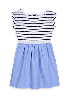 Nautica Stripe to Solid Dress Girls 7-16
