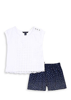 Nautica Eyelet Top and Poplin Shorts 2-Piece Set Girls 7-16