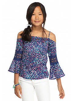Jessica Simpson Guinevere Printed Cold Shoulder Top Girls 7-16