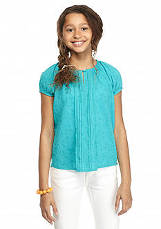 Jessica Simpson Apple Eyelet Puff Sleeve Top Girls 7-16