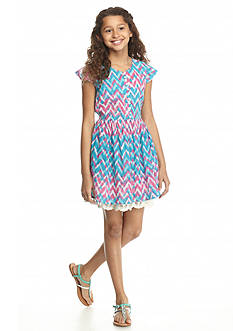 Jessica Simpson Nesmarie Printed A-Line Dress Girls 7-16