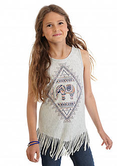 Jessica Simpson Kristoff Elephant Fringe Tank Top Girls 7-16