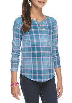 Jessica Simpson Lace Up Henley Top Girls 7-16