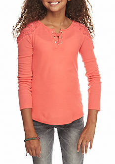 Jessica Simpson Joni Lace-Up Henley Top Girls 7-16