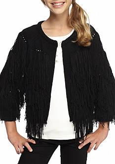 Jessica Simpson Fringe Sweater with Satin Fringe Girls 7-16