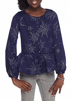 Jessica Simpson Girls' Starbrite Blue Flounce Top