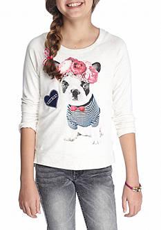 Jessica Simpson Girls Oatmeal Long Sleeve Graphic Sweatshirt