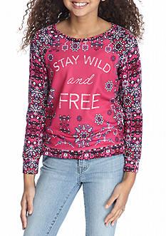Jessica Simpson Girls Raspberry Long Sleeve Graphic Sweatshirt