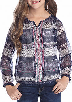 Jessica Simpson Diamond Stripe Peasant Blouse Girls 7-16
