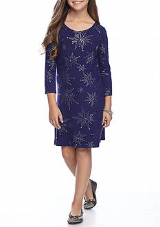 Jessica Simpson Girls' Starbrite 3/4 Sleeve Printed Dress
