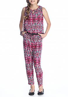 Jessica Simpson Sleeveless Printed Jumpsuit Girls 7-16