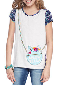 Jessica Simpson 'Meow Bella' Hi-Lo Graphic Tee Girls 7-16