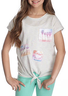 Jessica Simpson Tie Front Stripe Tee Girls 7-16