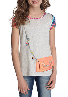 Jessica Simpson High Low Purse Tee Girls 7-16