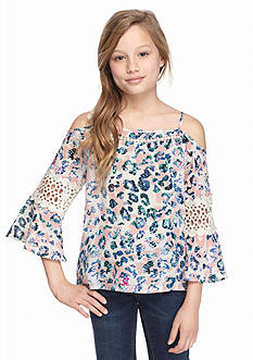 Jessica Simpson Printed Off the Shoulder Top Girls 7-16