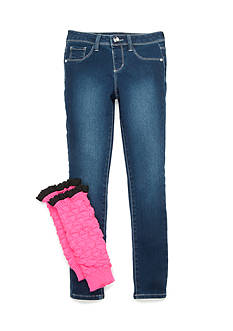 Squeeze Medium Wash Pink Leg Warmer Jean Set Girls 7-16