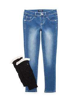 Squeeze Light Wash Black Leg Warmer Jean Set Girls 7-16