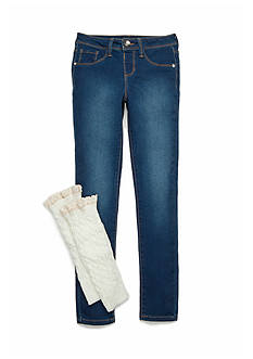 Squeeze Medium Wash Ivory Leg Warmer Jean Set Girls 7-16