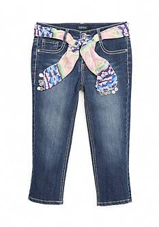 Squeeze Printed Sash Belt Capris Girls 7-16