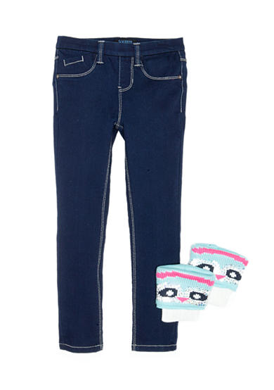 Squeeze Jegging and Crochet Let Warmer 2-Piece Set Girls 4-6X