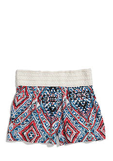 Squeeze Tribal Print Crochet Band Soft Shorts Girls 7-16