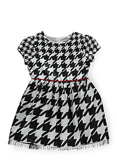 Hartstrings Short Sleeve Houndstooth Dress Girls 4-6x