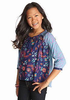 Red Camel® High Low Mixed Print Woven Top Girls 7-16