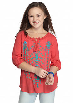 Red Camel® Three-Quarter Sleeve Embroidered Peasant Top Girls 7-16