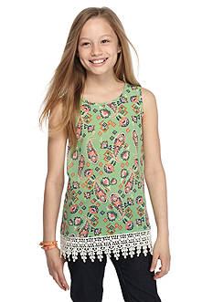 Red Camel® Paisley Printed Crochet Tank Top Girls 7-16