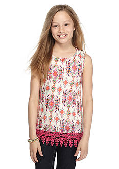 Red Camel® Ikat Printed Crochet Tank Top Girls 7-16