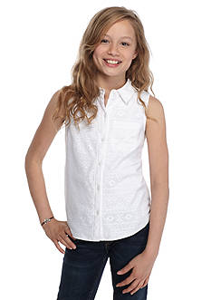 Red Camel® Lace Overlay Button Front Top Girls 7-16