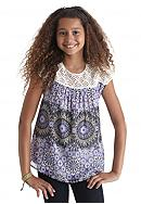 Red Camel® Crochet Border Printed Top Girls