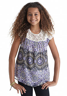 Red Camel Crochet Border Printed Top Girls 7-16