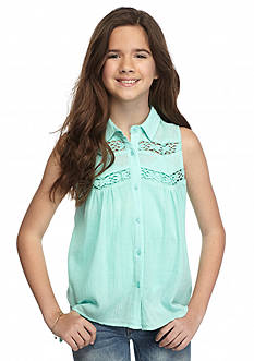 Red Camel® Crepe Crochet Tank Top Girls 7-16